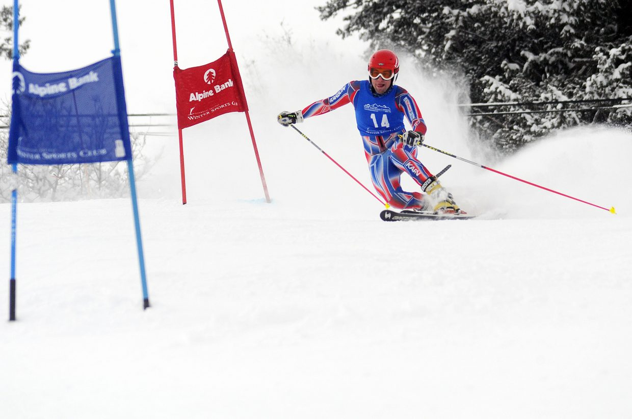 Cory Snyder skis Friday in a Telemark race in Steamboat Springs.