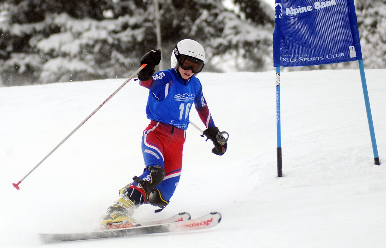 Rick Walters skis Friday in a Telemark race in Steamboat Springs.