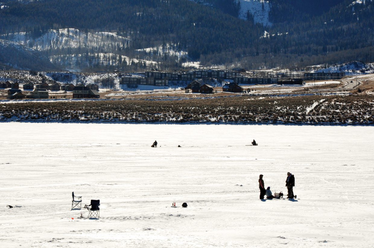 Although Stagecoach Reservoir is frozen enough to support ice fishing, there is not enough snowfall at the state park to safely accommodate a dog sled race that was scheduled there for this weekend.