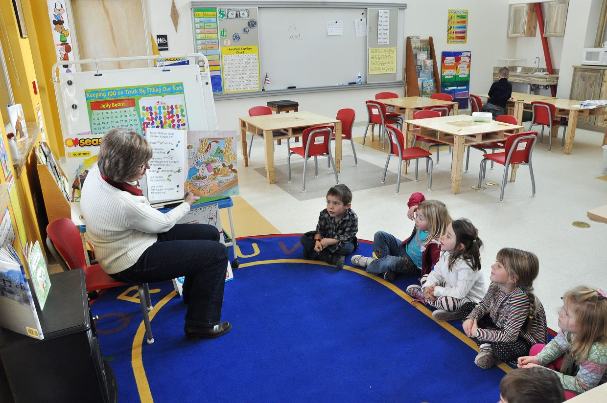 Missy Beirne reads to her kindergarten class Wednesday at North Routt Community Charter School.