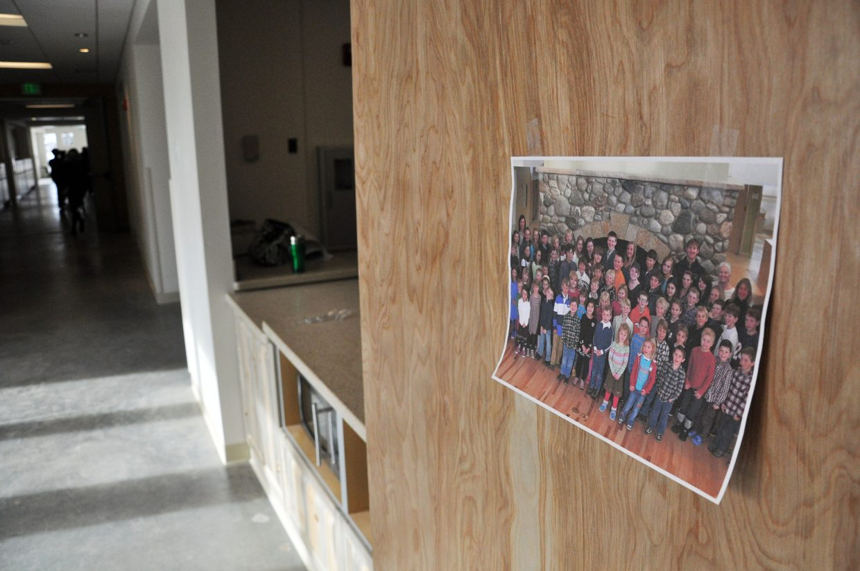 A picture taken of North Routt Community Charter School students in their new building is already hanging in the hallway of the school that was finished last week.