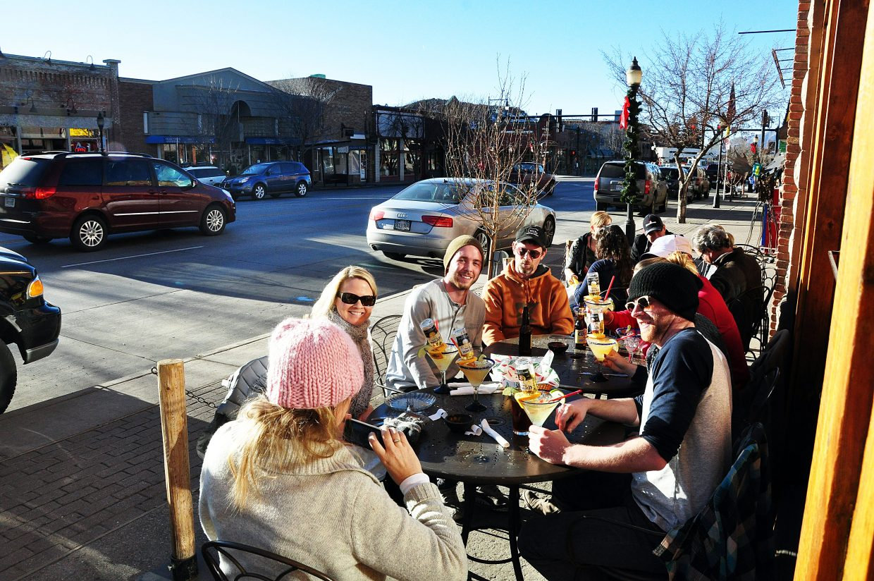 The Baker family sips margaritas outside at Cantina Mexican Restaurant in downtown Steamboat Springs.