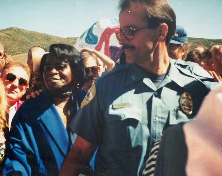 JD Hays escorts James Brown in September 1993 when the city of Steamboat Springs dedicated the James Brown Soul Center of the Universe Bridge.