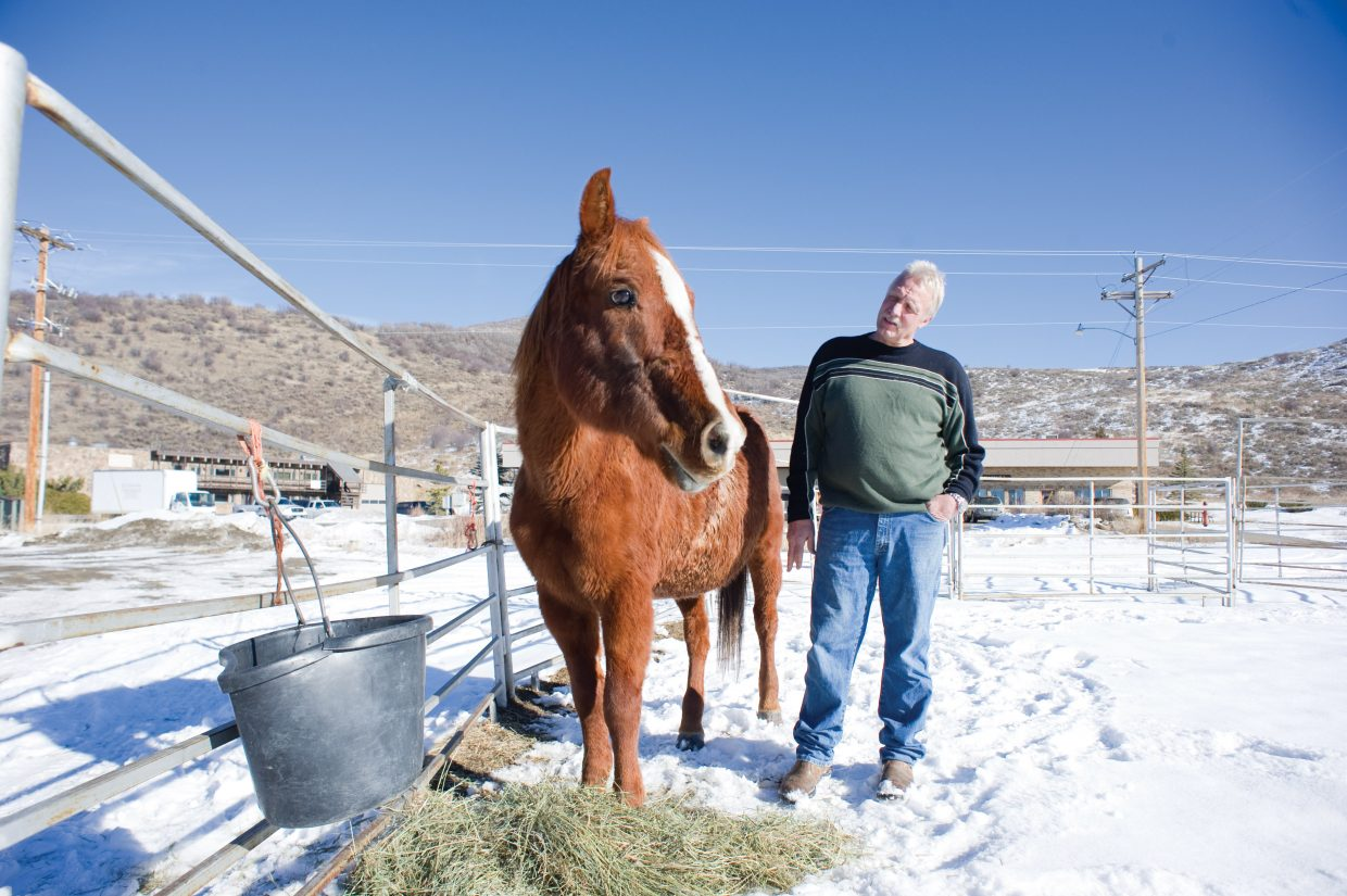 Veterinarian Mike Gotchey explains how he and eight others helped rescue Ser Vivor from the North Routt backcountry Sunday. The horse, which is thought to have spent four months in the wilderness, was spotted by a group of snowmobilers that was riding in the area.