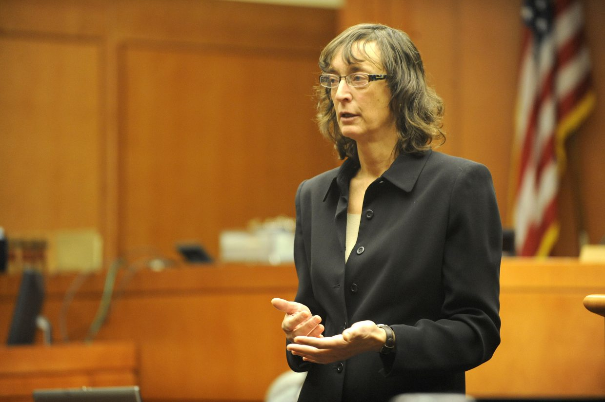 Routt County Public Defender Sheryl Uhlmann gives an opening statement Wednesday morning at the Routt County Justice Center.