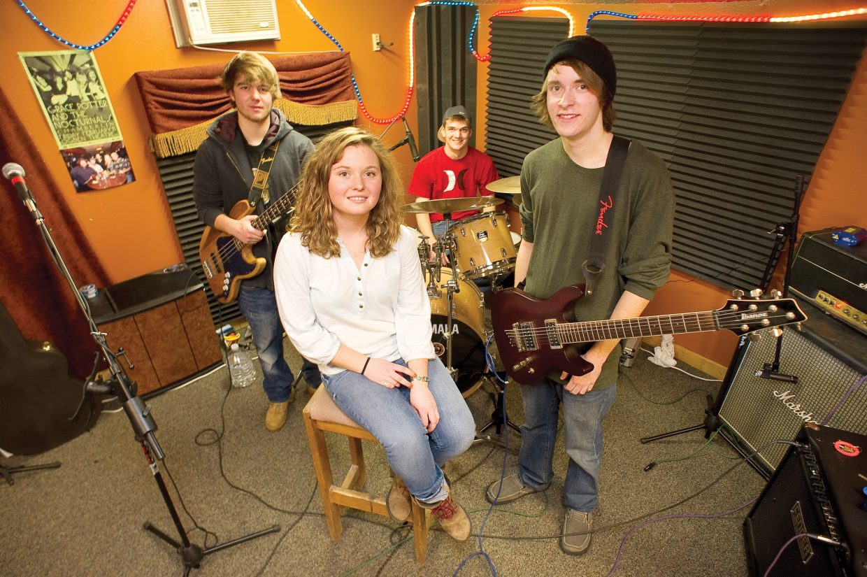 On the Fritz, which includes, counterclockwise from front center, Katie Ross, Jack Massey, Collin McNellis and Max Shoffner, rehearsed all week in Steamboat to prepare for Denver Battle of the Bands on Sunday.