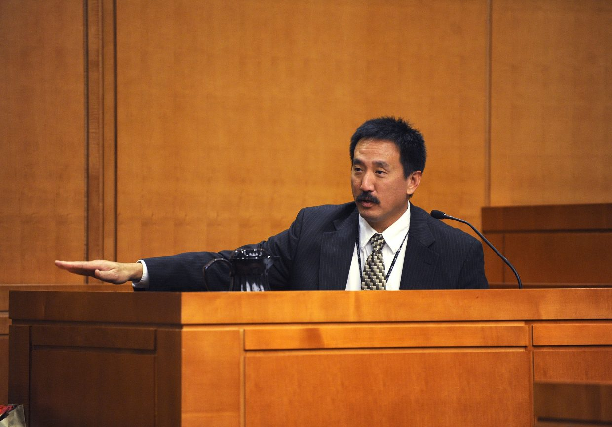 Colorado Bureau of Investigation firearms examiner Dale Higashi testifies during the Robert Cash first-degree attempted-murder trial Thursday at the Routt County Justice Center.
