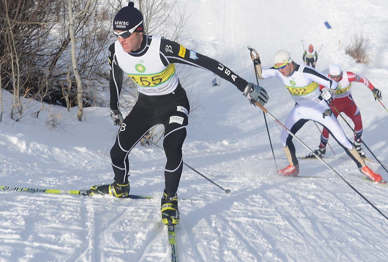 Steamboat's Aleck Gantick surges up a slope at Howelsen Hill on Friday during a cross-country ski race. Although the event was headlined by college athletes from across the country, the Steamboat Springs Winter Sports Club hauled home plenty of top prizes. Emily Hannah was fourth in the women's field and Mary O'Connell was 10th.