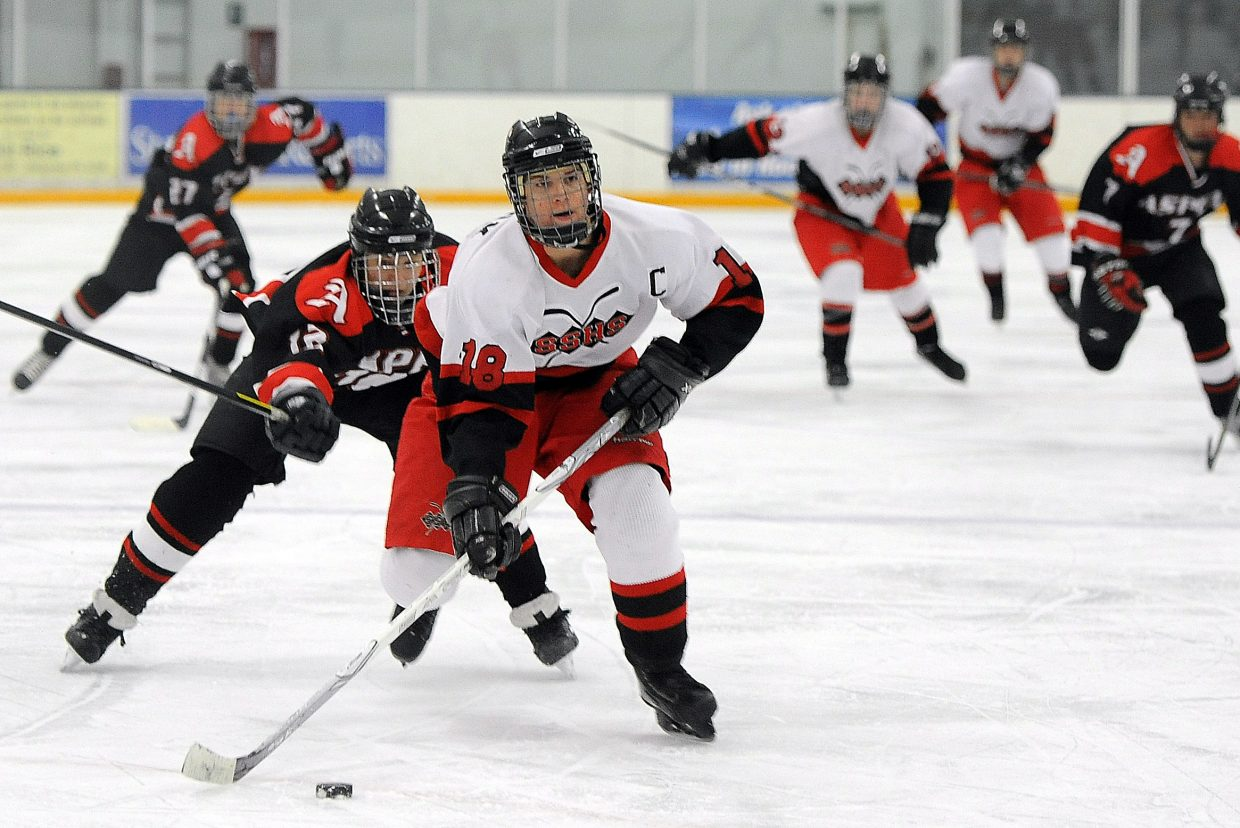 Lance Ostrom pushes the puck up the ice Friday against Aspen.