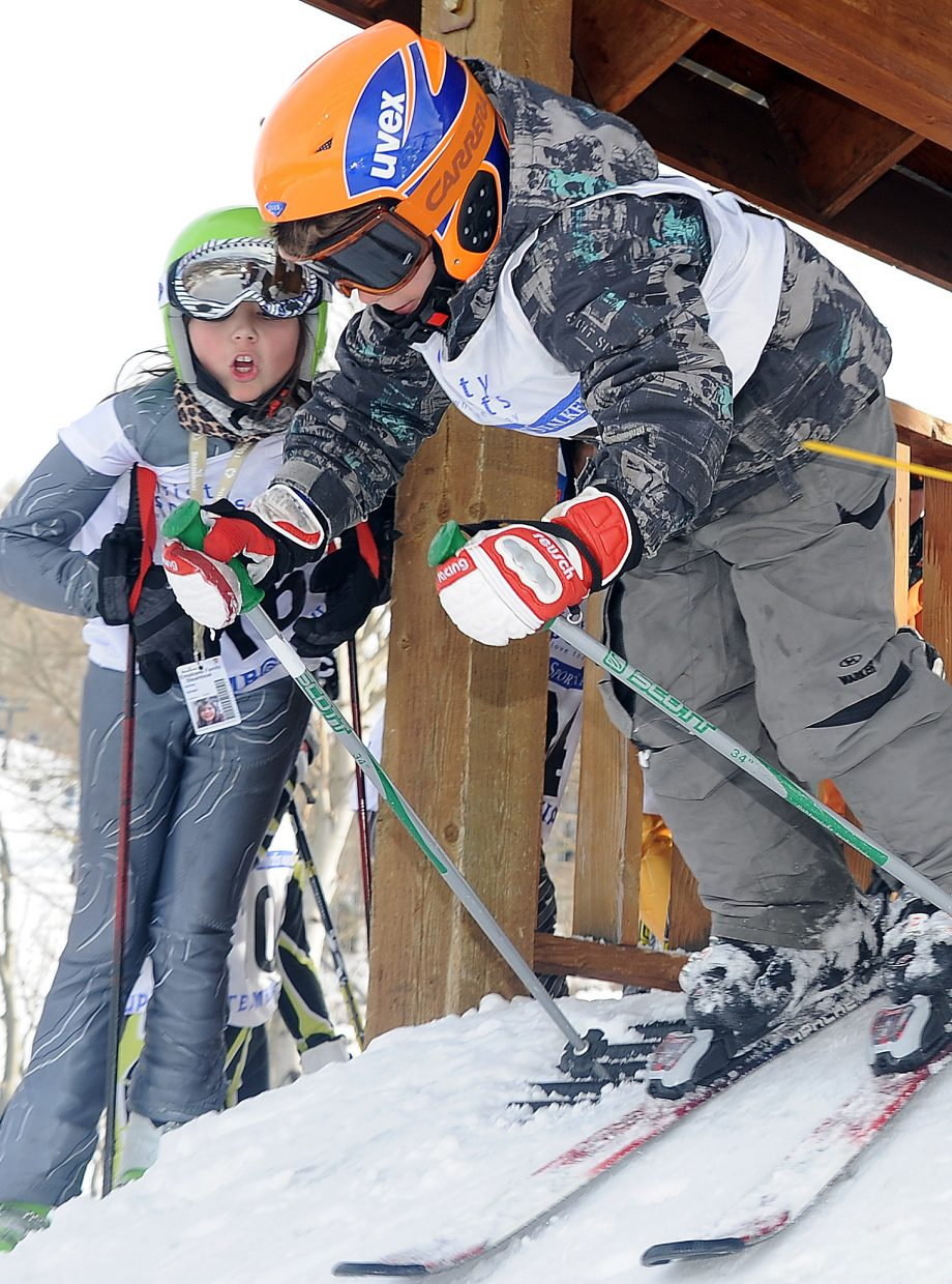 Ashley Spiegel cheers on her younger brother, Logan Spiegel, on Sunday in the Steamboat Cup.