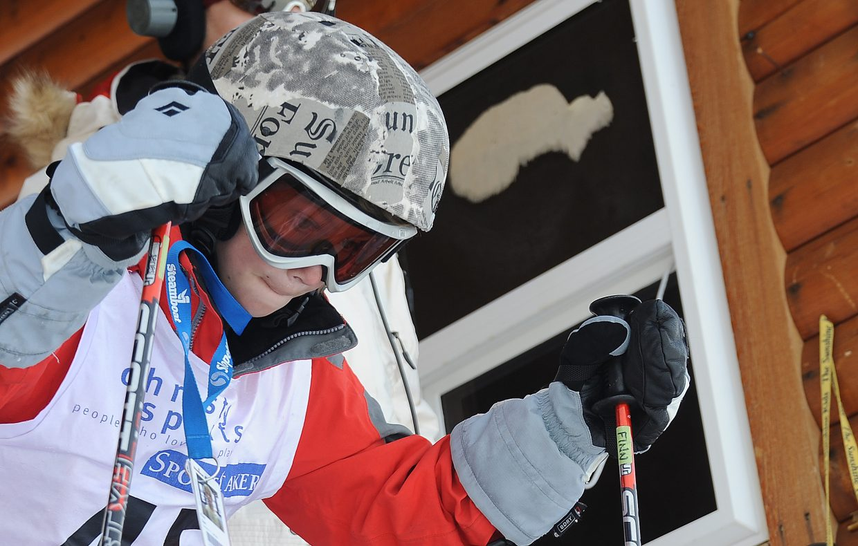 Finn Sias prepares for his race down the course at Steamboat Ski Area on Sunday.