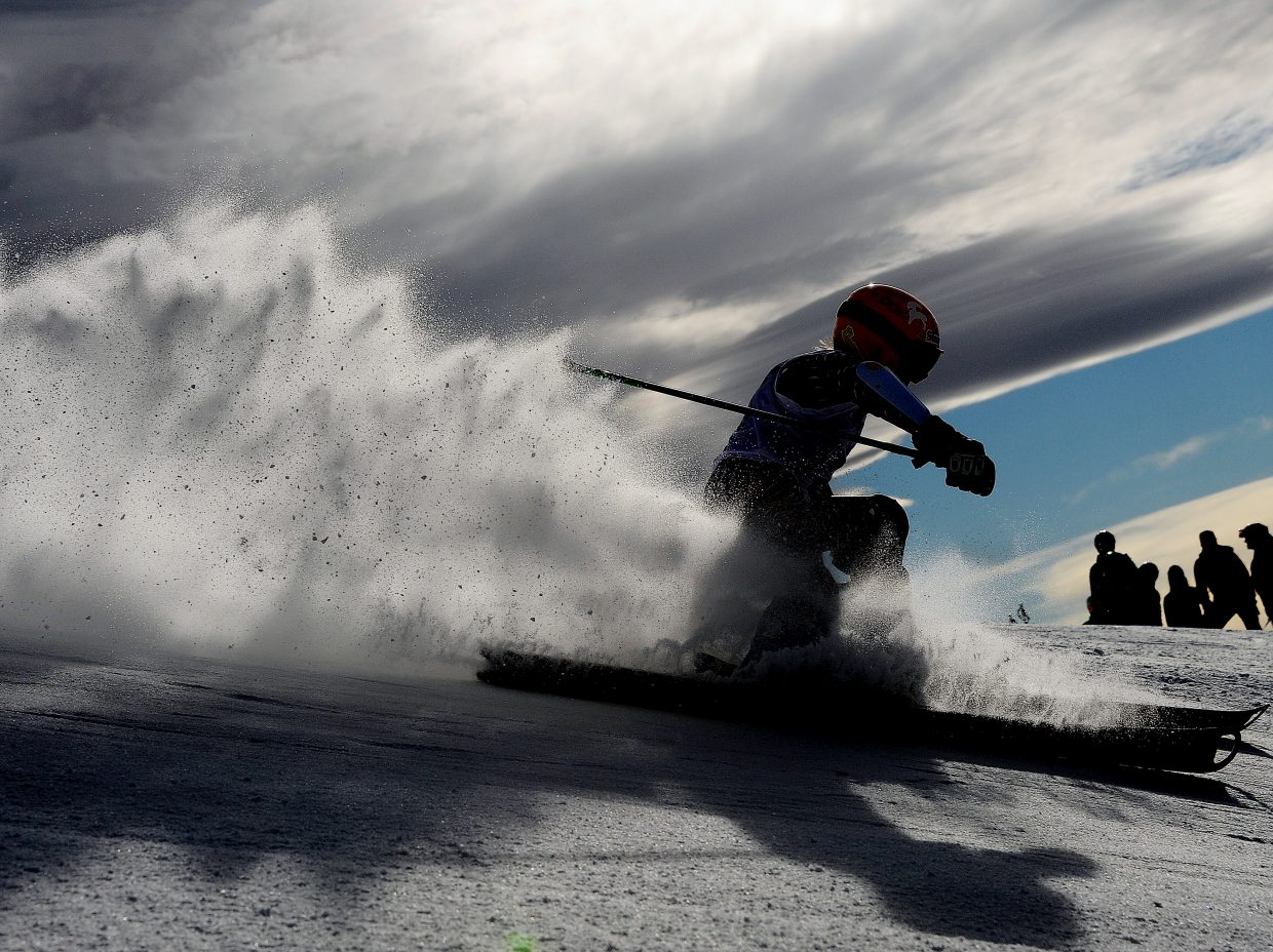 A skier cuts down Sitz on Sunday during a Steamboat Cup giant slalom race in Steamboat Springs.