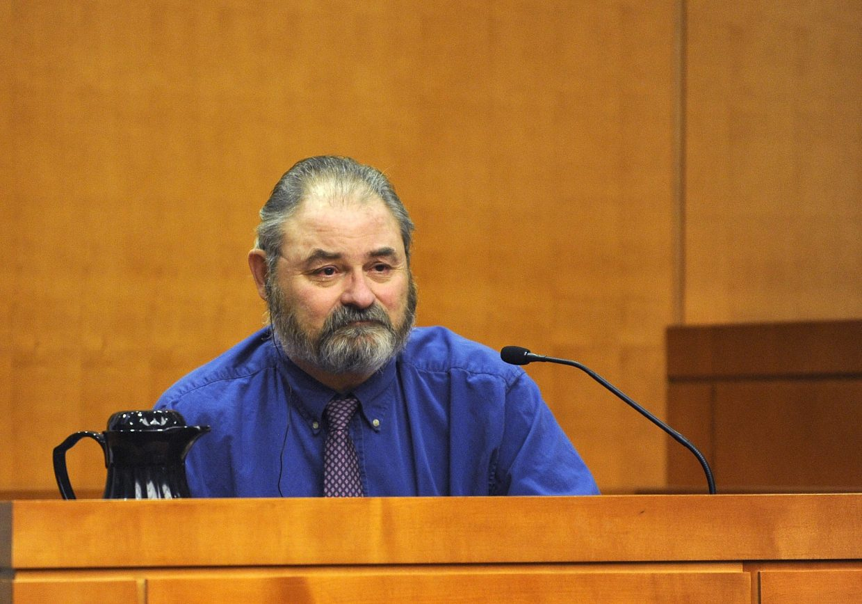 Robert Cash testifies Tuesday at the Routt County Justice Center.