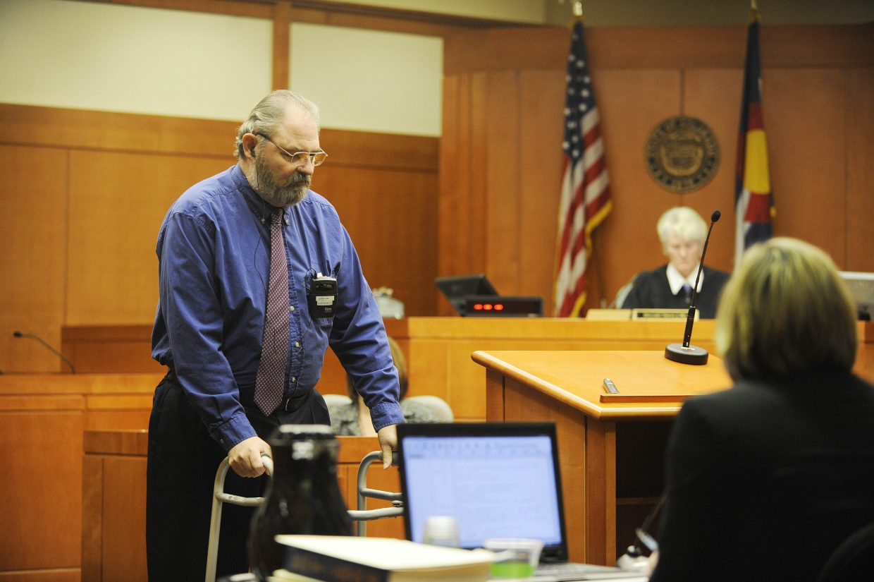 Robert Cash leaves the witness stand after testifying Tuesday at the Routt County Justice Center.