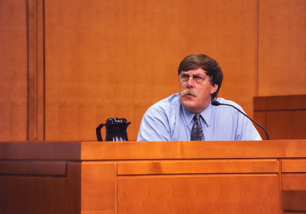 Firearms expert Paul Paradis testifies during the Robert Cash trial Tuesday at the Routt County Justice Center.