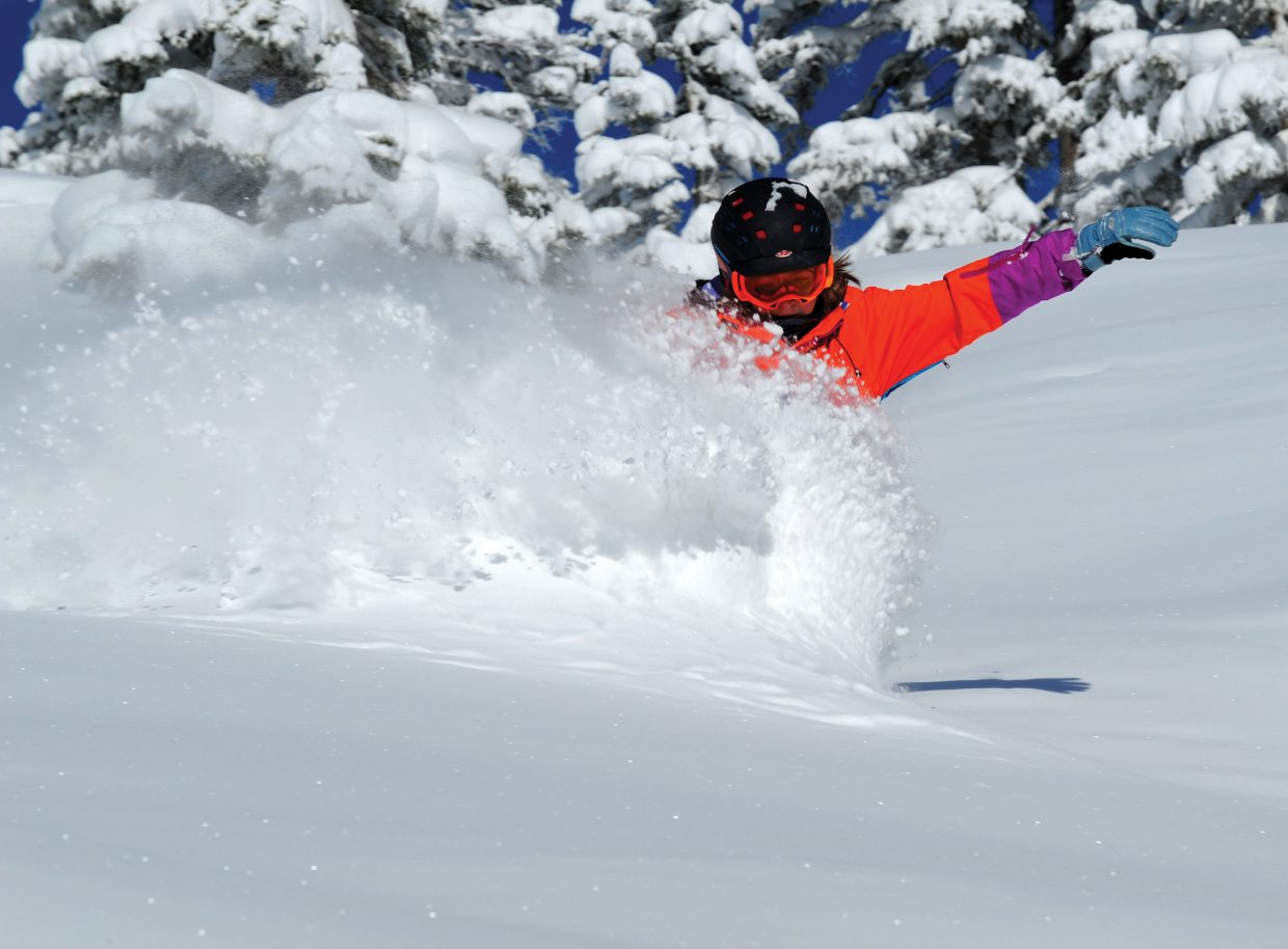 A snowstorm left 11 inches of snow on Steamboat Ski Area. Local snowboarder Maggie Carrigan sampled the deep snow Tuesday. Submitted by: Larry Pierce