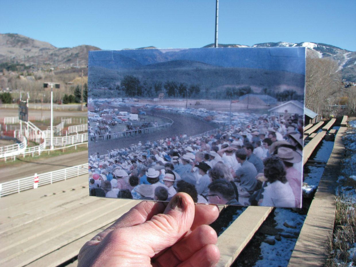 "Remember when a Fourth of July rodeo could pack the concrete bleachers at the rodeo grounds? Photo dated July 4, 1963. Bill Fetcher submitted this photo as part of the Steamboat Pilot & Today's ""Remember When?"" community photo project. Want to participate? Dig through your old photos, go to the location it was taken in Steamboat and take a new picture of you holding the old picture. We'll post your pictures to our Rem­ember When photo gallery on our website and to our Facebook page. Email your submissions to share@SteamboatToday.com."