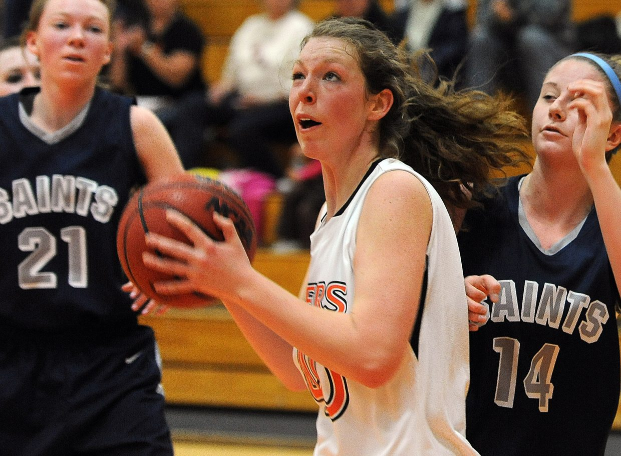 Hayden's Aubree Haskins pulls in a rebound Saturday.