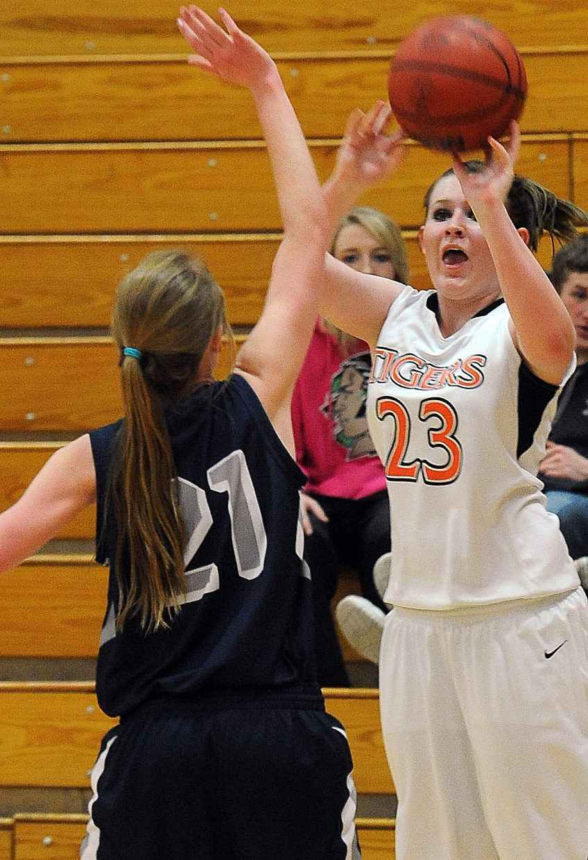 Hayden's Kelsey Rolando pulls up for a 3-point shot Saturday. She hit six in the win against Vail Christian.