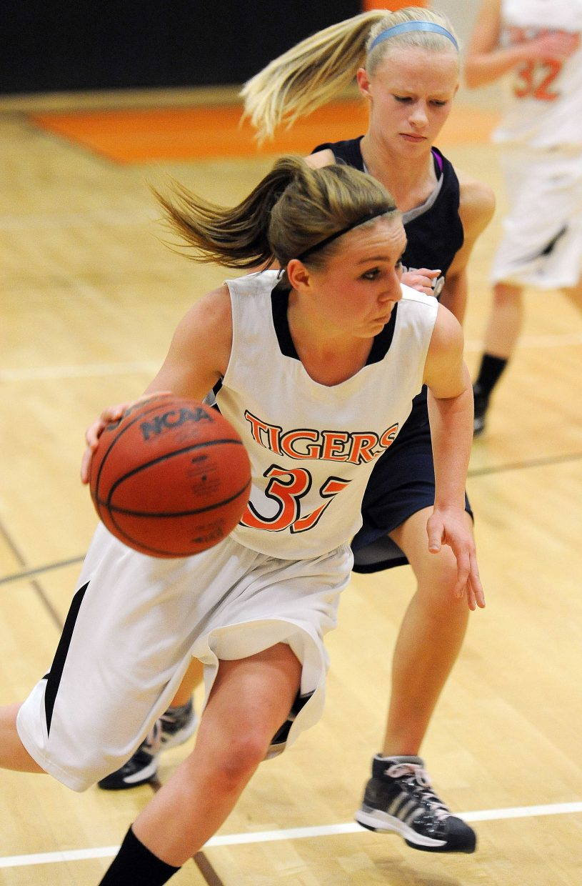 Hadyen's Brette Frentress drives toward the basket Saturday against Vail Christian.