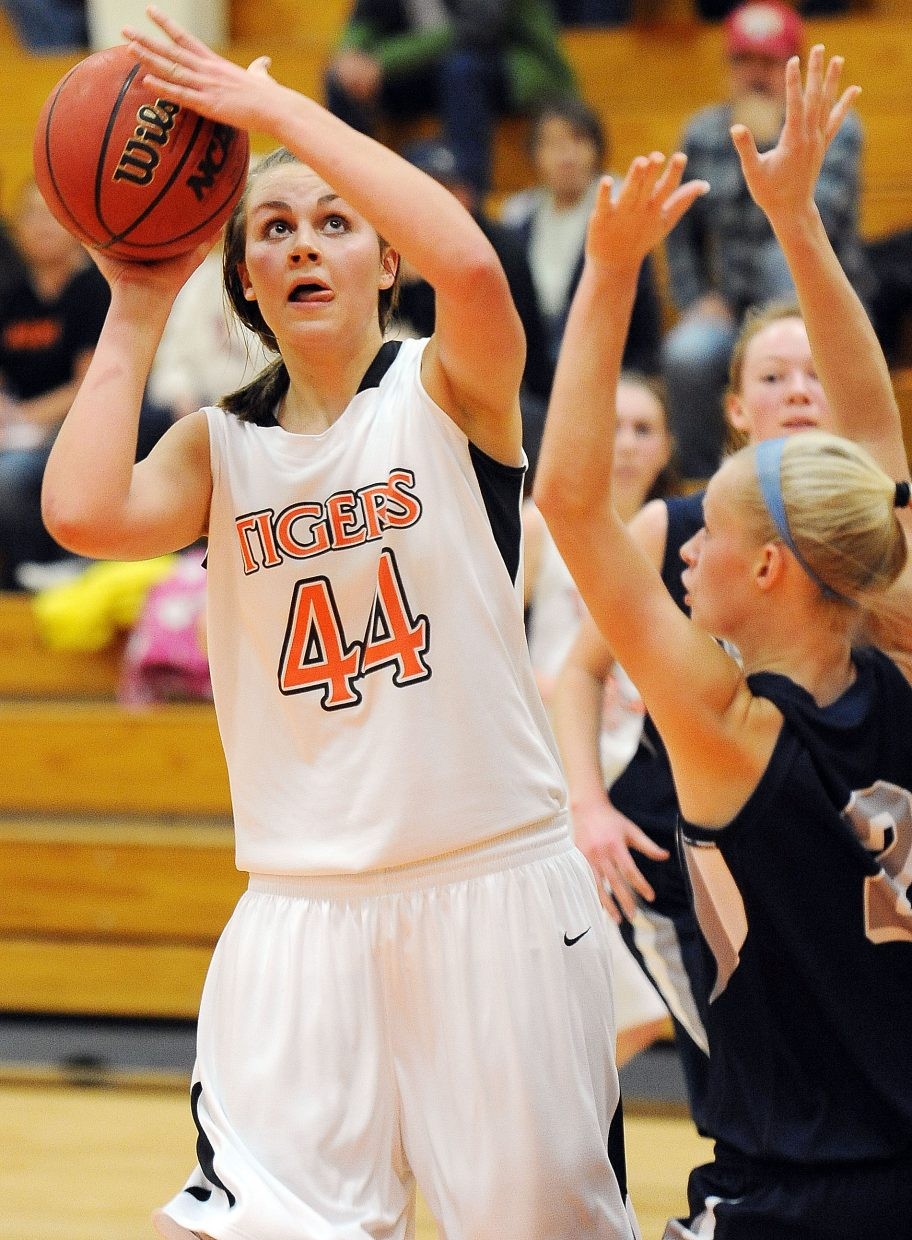 Hayden's Erin Koehler puts up a shot Saturday against Vail Christian.