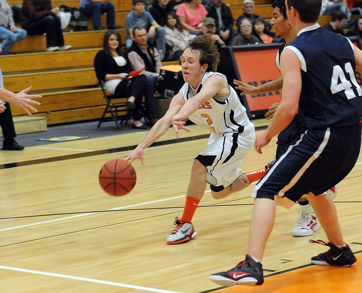 Hayden's Hunter Johnston shoots a pass toward the baseline Saturday against Vail Christian.