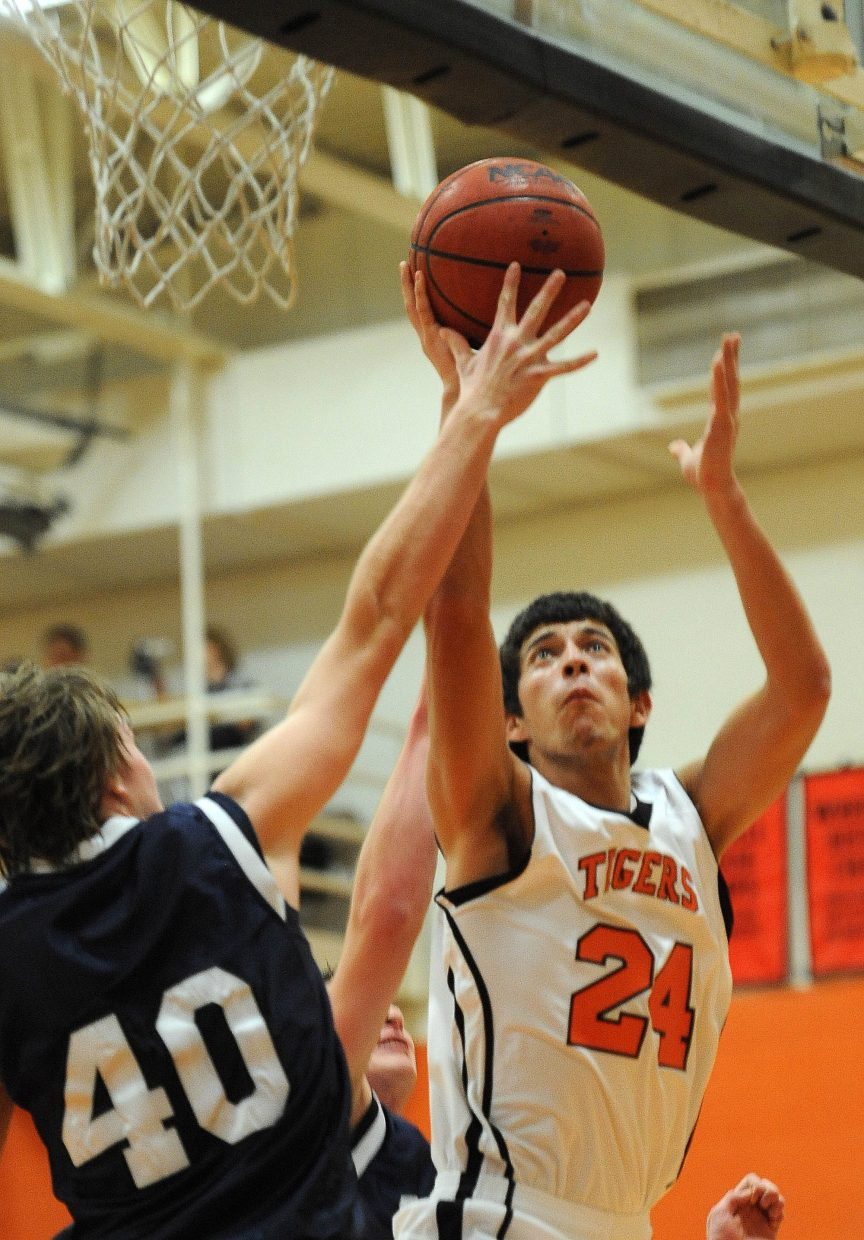 Hayden's Jorge Valdez puts a shot up Saturday against Vail Christian.