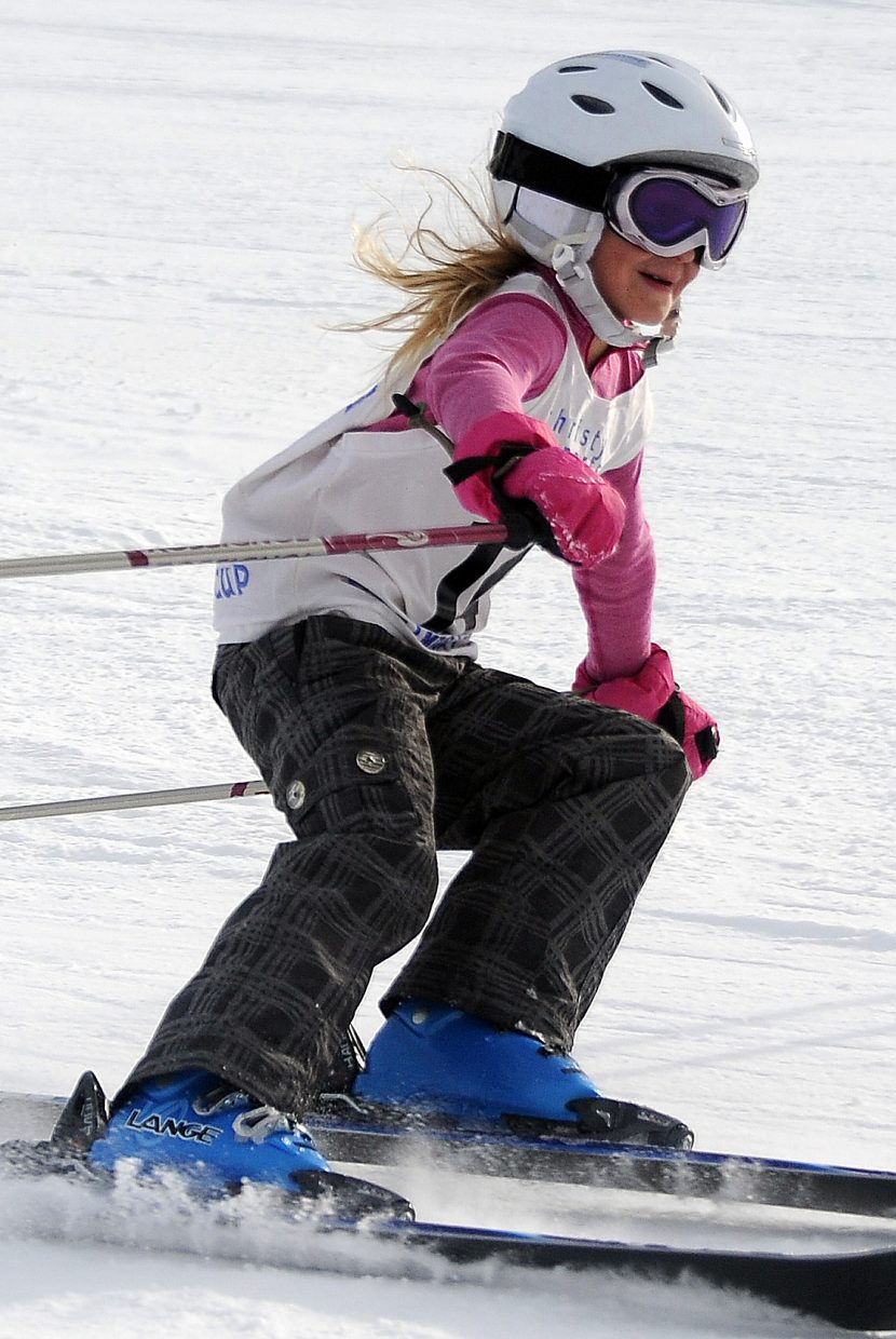 Tess Arnone, 8, cuts down See Me run at Steamboat Ski Area last weekend during a Steamboat Cup event.