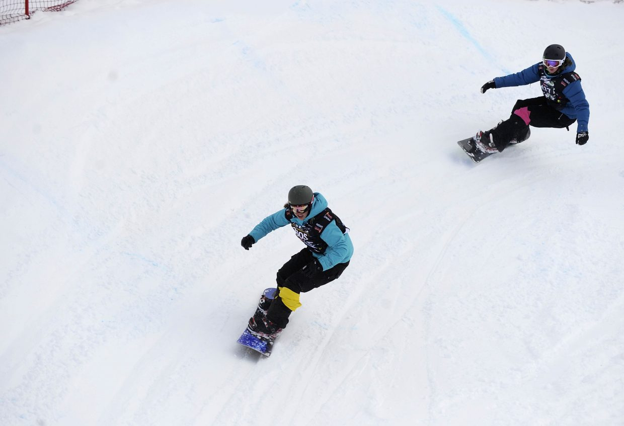 Snowboarders compete in the Saturday's snowboard cross event at Steamboat Ski Area.