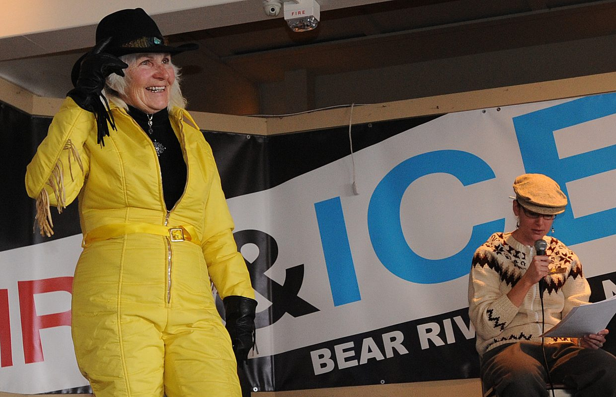 Ann Ross shows off her vintage ski clothing perfectly suited to Steamboat Springs on Sunday during the vintage ski gear fashion show.