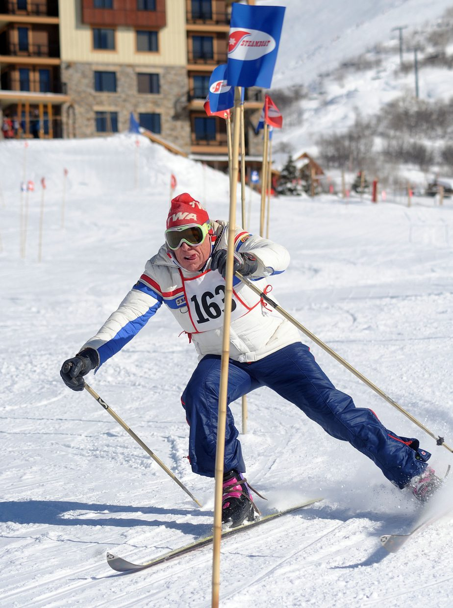 Olympian Moose Barrows tries to cut through a slalom course on Sunday at Steamboat Ski Area during a vintage ski race.