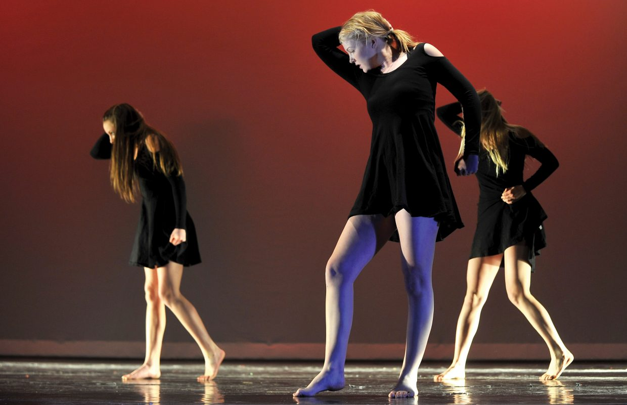 Steamboat Springs sophomore Ellie Bender performs with classmates during a dress rehearsal for this year's Dance Showcase, which will take place in the Steamboat Springs High School auditorium at 7 p.m. Thursday, Friday and Saturday.