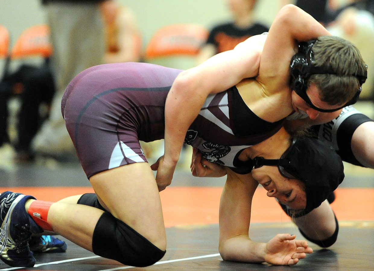 Soroco's Lauryn Bruggink wrestles Tristin Pelloni on Thursday in Hayden.