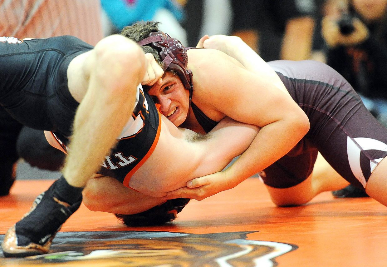 Soroco's Tristan Palyo wrestles Hayden's Chad Terry on Thursday in Hayden.