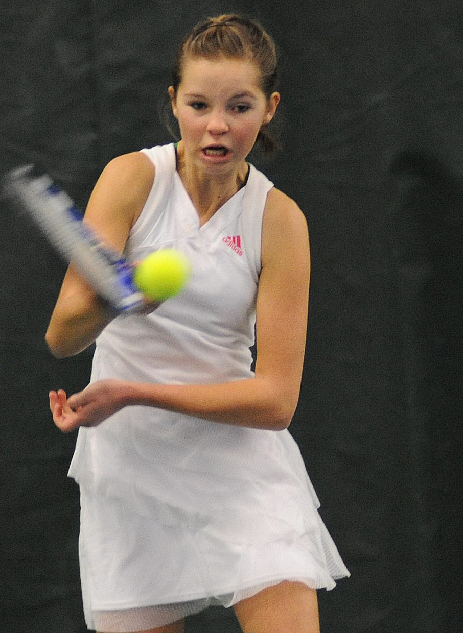 Kira Lorenzen plays on Sunday in the City Mixed Double and Juniors Championships at the Tennis Center in Steamboat Springs.