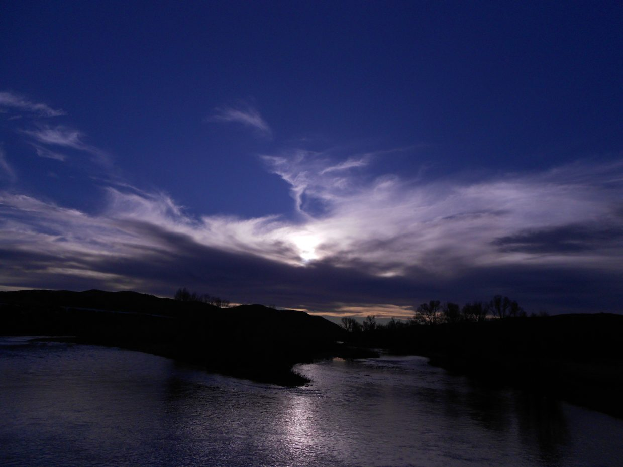 Sun setting on the Yampa River. Submitted by: Maryedith Davies