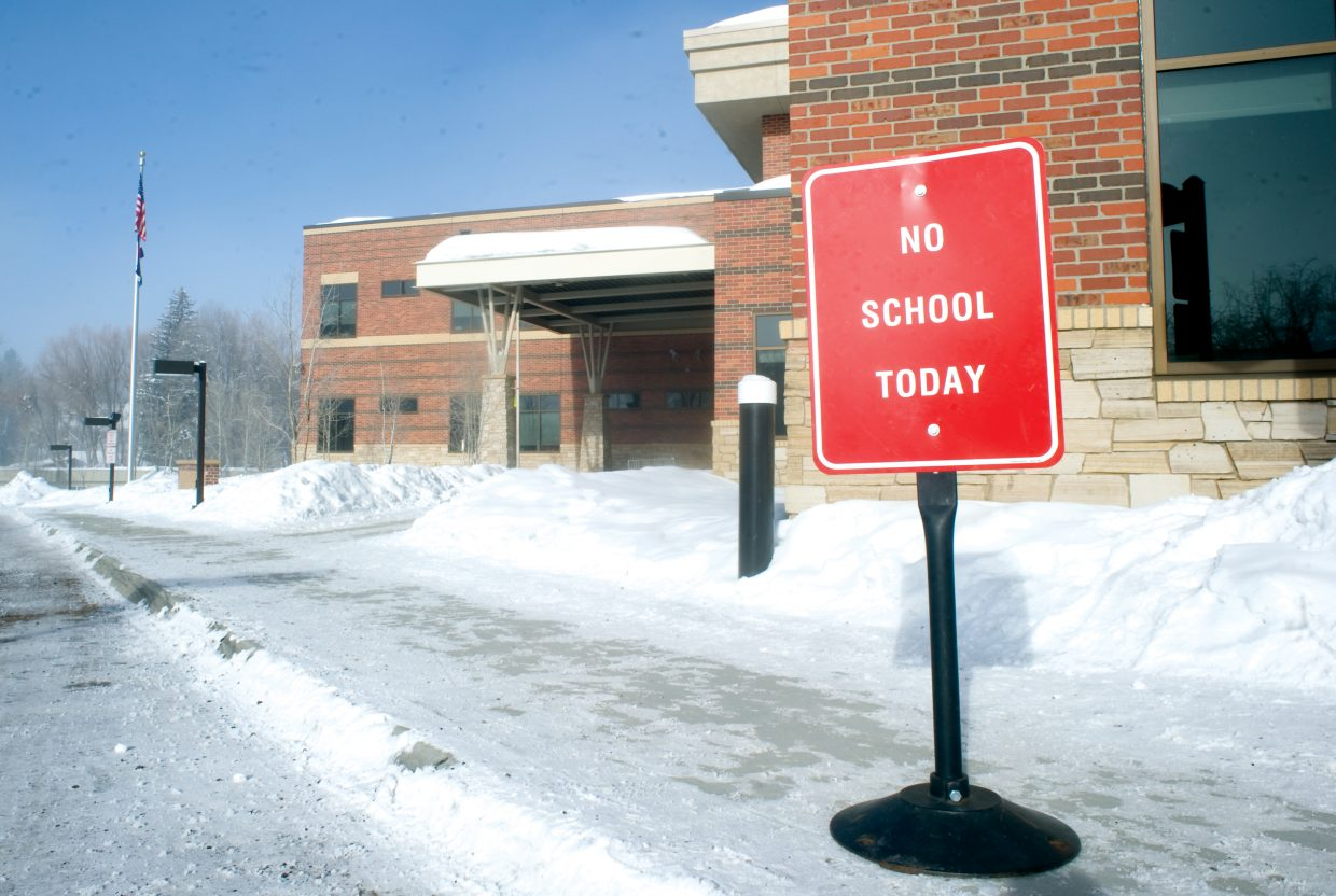 A sign in front of Soda Creek Elementary School on Wednesday morning informed students that there was no school. The school was closed because of the extremely low temperatures.