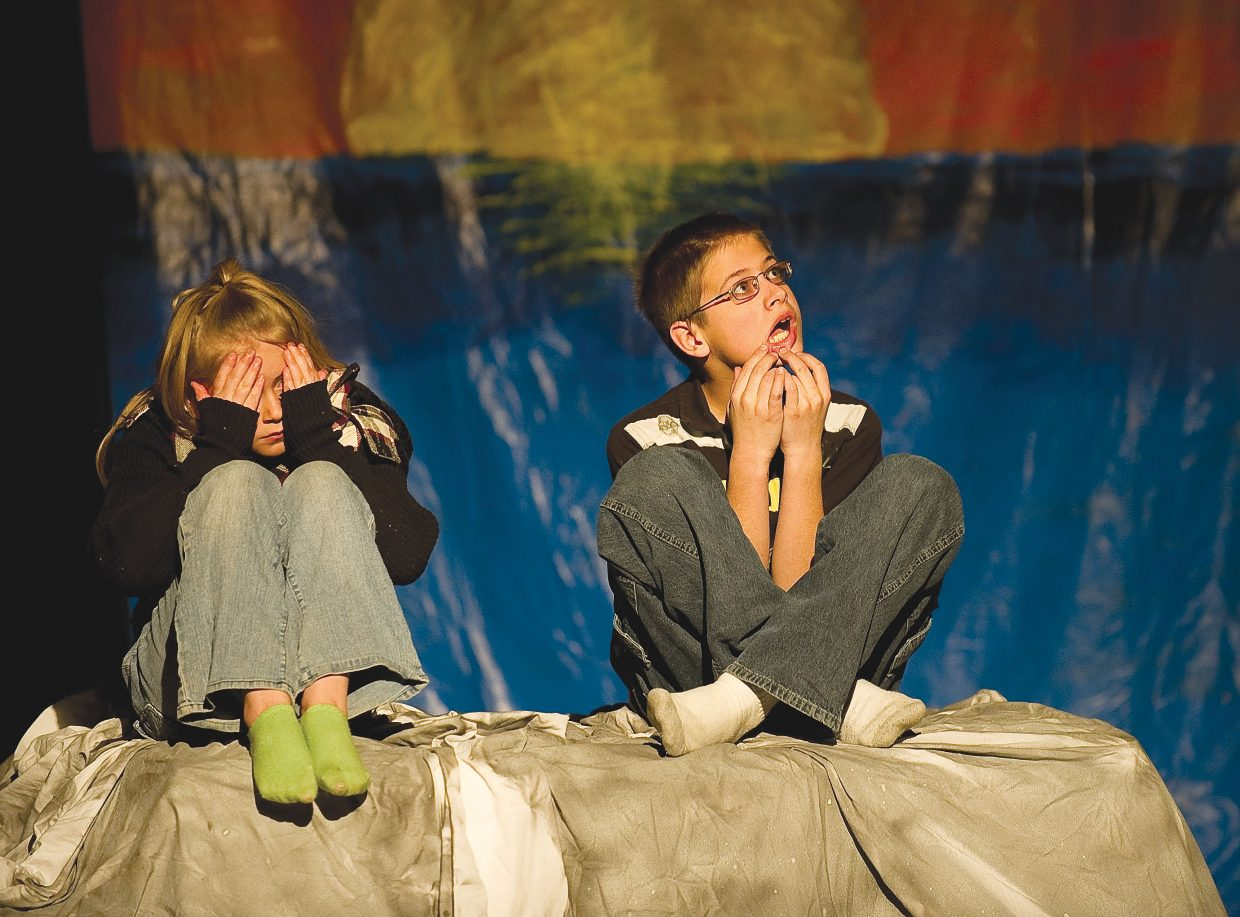 """Peter Pan, played by William Lighthizer, and Wendy, played by Alli Ingols-Irwin, react after finding a way to escape an island surrounded by rising waters in a scene from """"Peter Pan & Wendy."""" Class Acts Productions will present the play at 7 p.m. Friday and 3 p.m. Saturday in the Hayden Secondary Schools auditorium."""