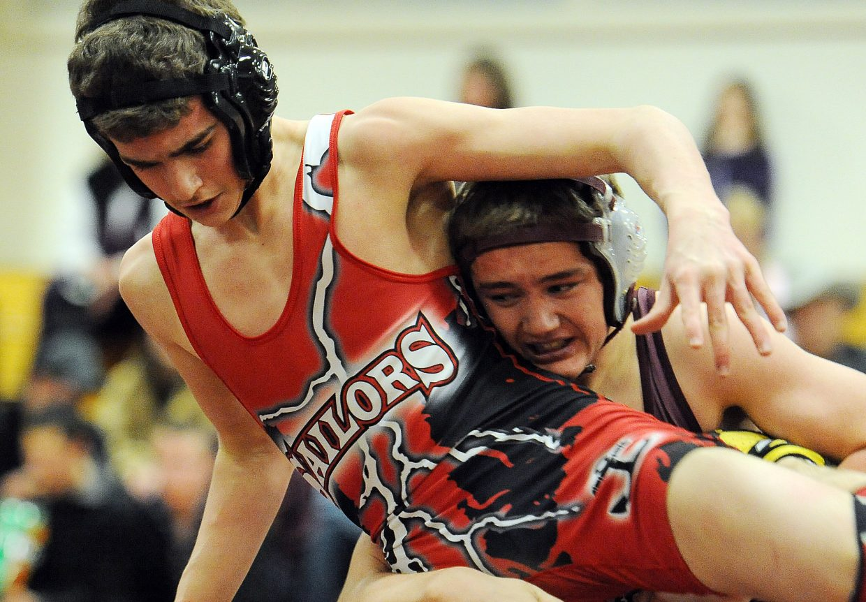 Steamboat's Dylan Parsons and Soroco's Jaxon Ovard wrestle Thursday.