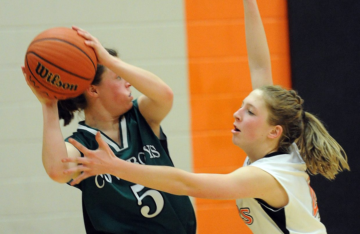 Hayden's Savannah Williams applies pressure on Friday while playing Plateau Valley.