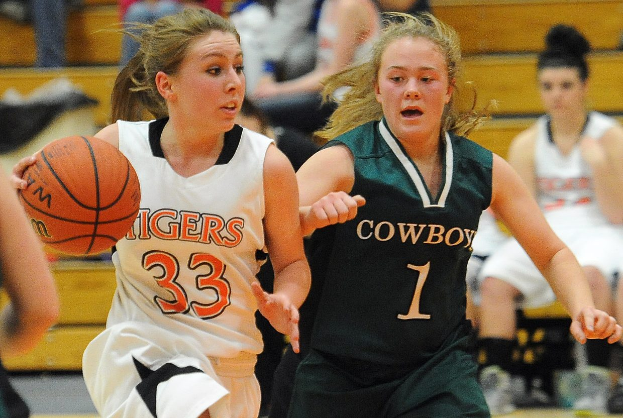Hayden's Brette Frentress drives the lane Friday against Plateau Valley.