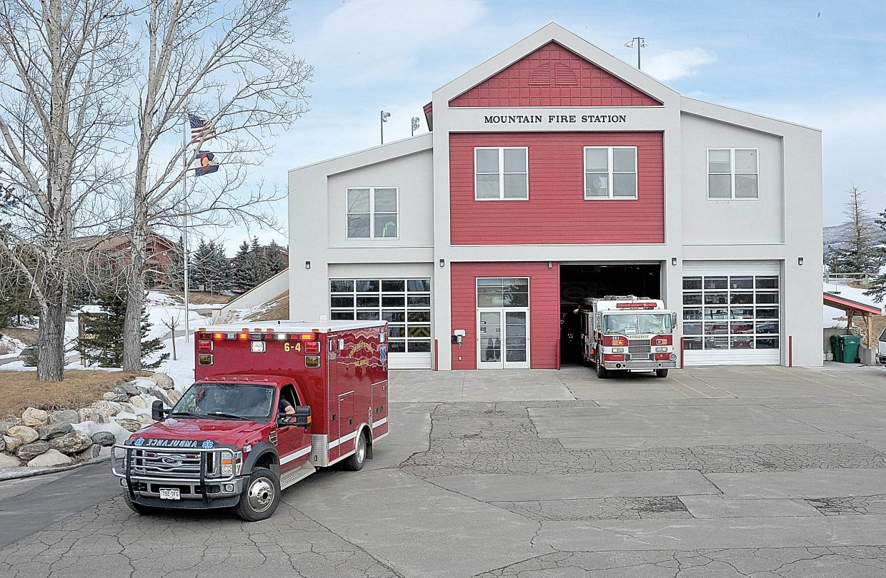 Fire trucks leave the Mountain Fire Station