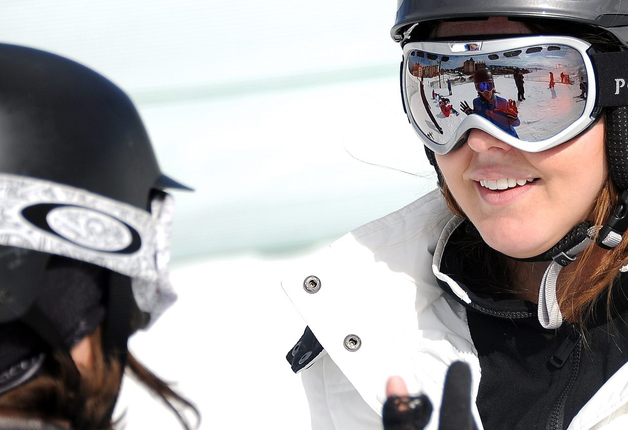 Steamboat Ski Area snowboarding instructor Tiana Egloff, left, offers advice to Jeanie Engler, of San Antonio, during a Friday afternoon lesson. Egloff, who's lived in Steamboat Springs for parts of seven years and all of the last two, said seeing her students reach those light-bulb moments is part of what keeps her teaching.