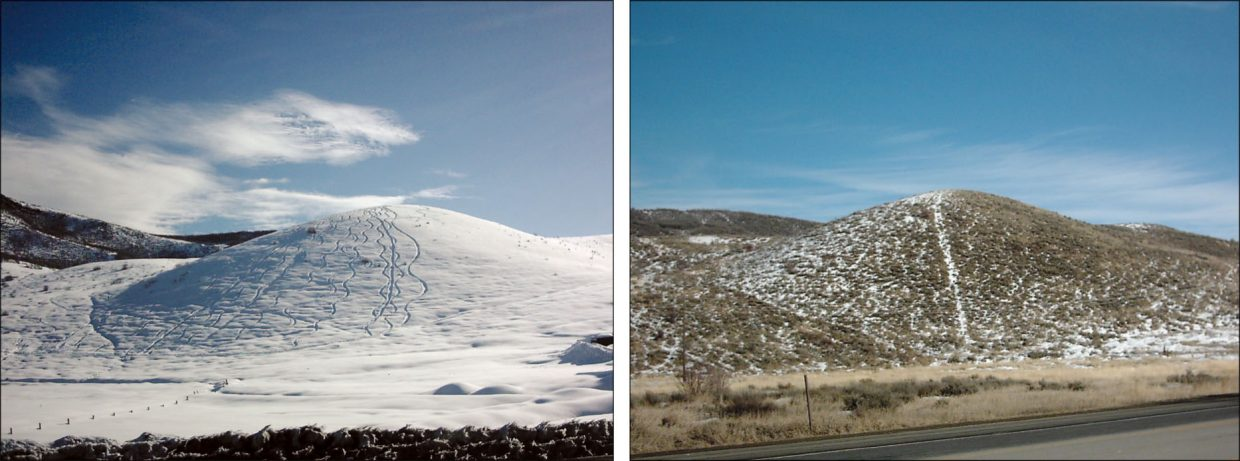 What a difference a year makes. A hill across from the Steamboat Pilot & Today office is pictured in winter 2010-11, when some powder hounds made fresh tracks, and on Tuesday with a light dusting of snow.