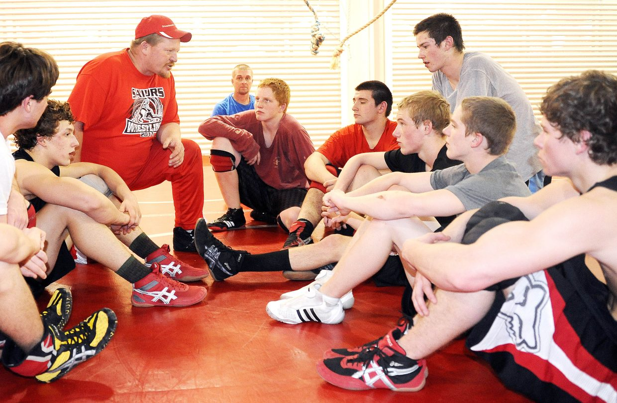 Steamboat Springs High School wrestling coach Shane Yeager talks to his team after Wednesday's practice. Area wrestling teams will compete Friday and Saturday in the regional wrestling tournaments. The top four wrestlers in each class will go to the state meet.