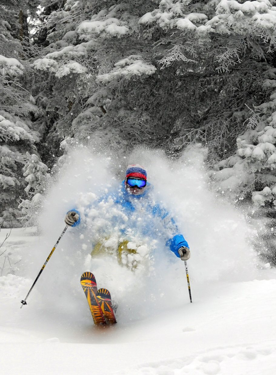 Skier Joe Kelly gets some fresh powder turns on Storm Peak after Steamboat Ski Area reported that 7 inches had dumped on the mountain Thursday.