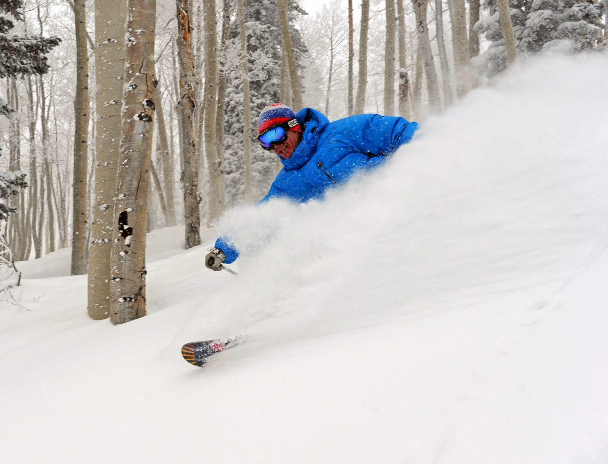 Skier Joe Kelly gets some turns on Hurricane after Steamboat Ski Area reported that 7 inches had dumped on the mountain Thursday.