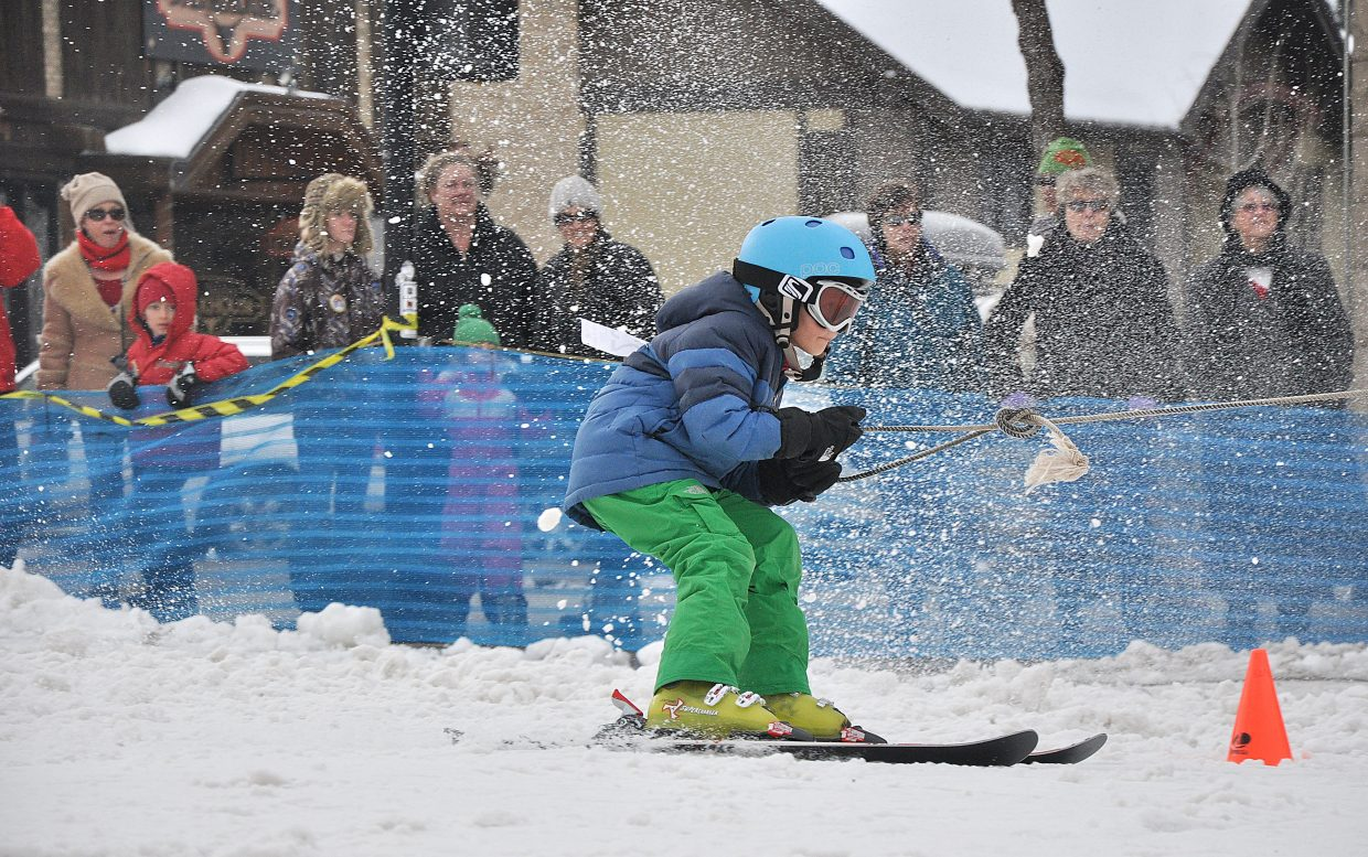 An athlete competes in a slalom event Sunday during the Winter Carnival in downtown Steamboat Springs