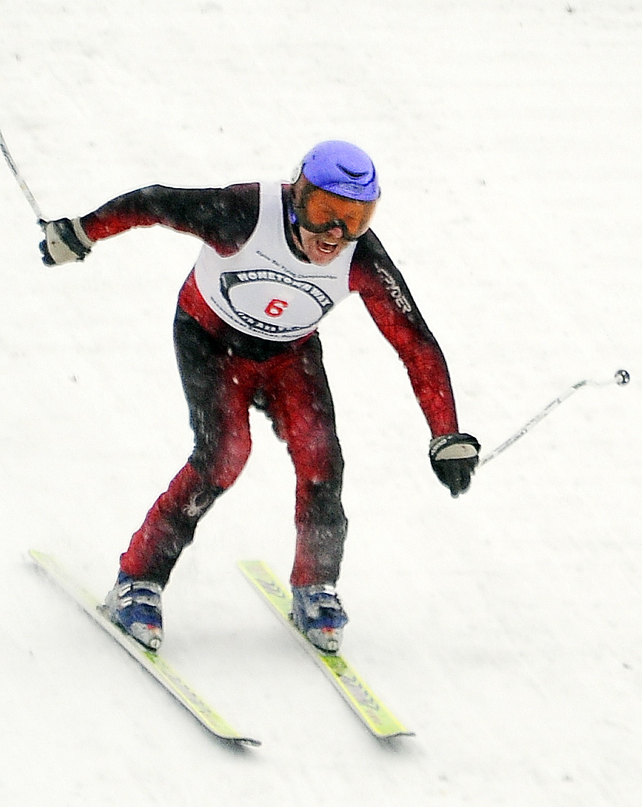 Tim Magill screams after touching down on his final jump Sunday at Howelsen Hill. Magill finished fourth in the event.