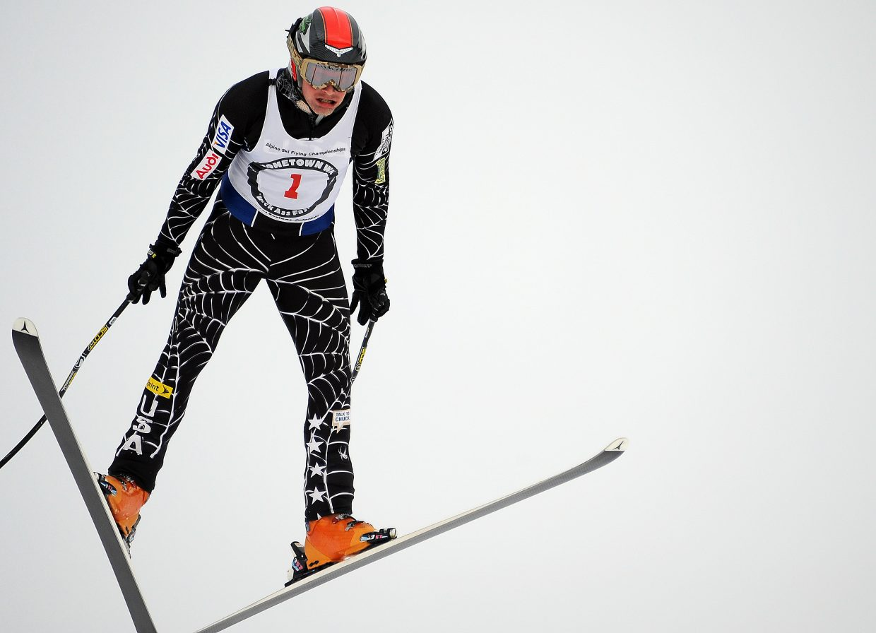 Rolf Wilson flies to a championship Sunday in the Alpine Ski Flying Championships in Steamboat Springs.